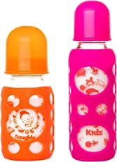 Naughty Kidz Premium Warmer Glass Bottle with Ultrasoft LSR Nipple||Silicone Bottle Warmer||Key TEETHER||Hood RETAINING Cap and Sealing DISC RING-120ML+240ML (Orange+Pink)