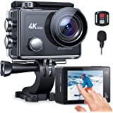 Crosstour Action Cam CT9900,Touch Screen 4K/60FPS Microfono Esterno WIFI,Super EIS Stabilizzata Videocamera Zoom 8X Fotocamer