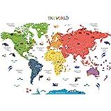 HomeEvolution, Mapa del mundo adhesivo [texto en inglés], de tamaño grande, desmontable, para niños, guardería, sala de juego