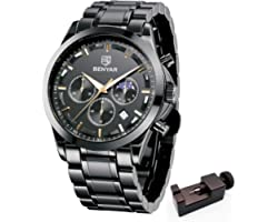BY BENYAR Mens Watch Chronograph Analog Quartz 3ATM Waterproof Stainless Steel Watches for Men Casual Sport Design Business W