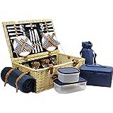 HappyPicnic Weiden-Picknickkorb mit Deluxe-Service für 4 Personen, Picknickkorb aus Naturgeflecht, Weidenpicknick-Set mit Speisenkühler, Weinkühler, Fleecedecke und Geschirr (Dunkelblauer Cord)MEHRWEG