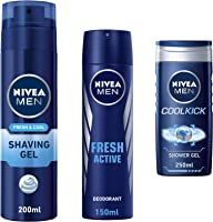 Nivea Travel Men Kit (Nivea Cool Shaving Gel, 200ml + Nivea Fresh Active Deo, 150ml + Nivea Cool Kick Shower Gel, 250ml)