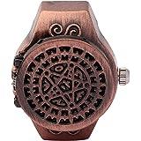 DAUERHAFT Reloj de Anillo de Dedo de 2 Colores, Reloj de Anillo de Cuarzo de Dedo Vintage con Cubierta abatible, Correa de Re