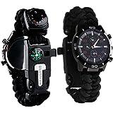 Survie paracord Bracelet de survie d'urgence, Hommes & Femmes horloge avec/Sifflet/Allume-feu/grattoir/Boussole et thermomètre, 6en 1multifonctionnel de plein air équipement