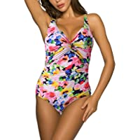 WIN.MAX Swimming Costume for Women Swimsuit Womens Swimwear Tummy Control Ruched Ladies Retro One Piece Swimsuit D to G…