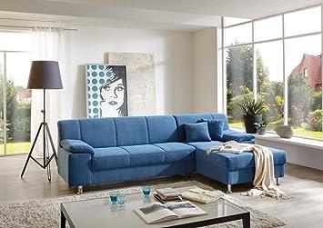 Dreams4Home Polsterecke Laguna Ecksofa Couch Sofa Wohnzimmer Polstergarnitur Inkl Kissen Blau AufbauvarianteLongchair Ottomane Links Amazonde Kche