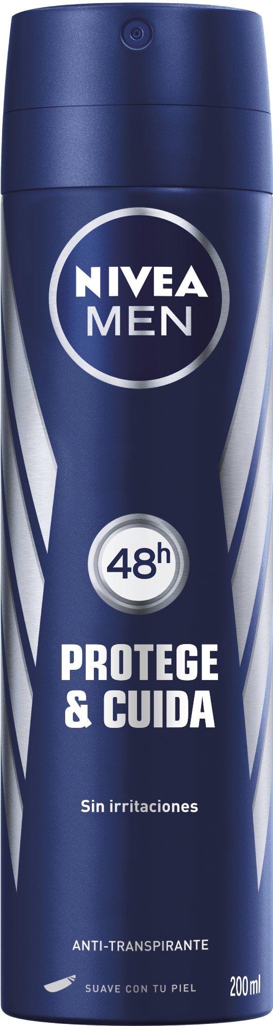 NIVEA MEN Protege & Cuida Spray (1 x 200 ml), desodorante para hombre con máxima protección 48 horas, spray desodorante de cuidado masculino