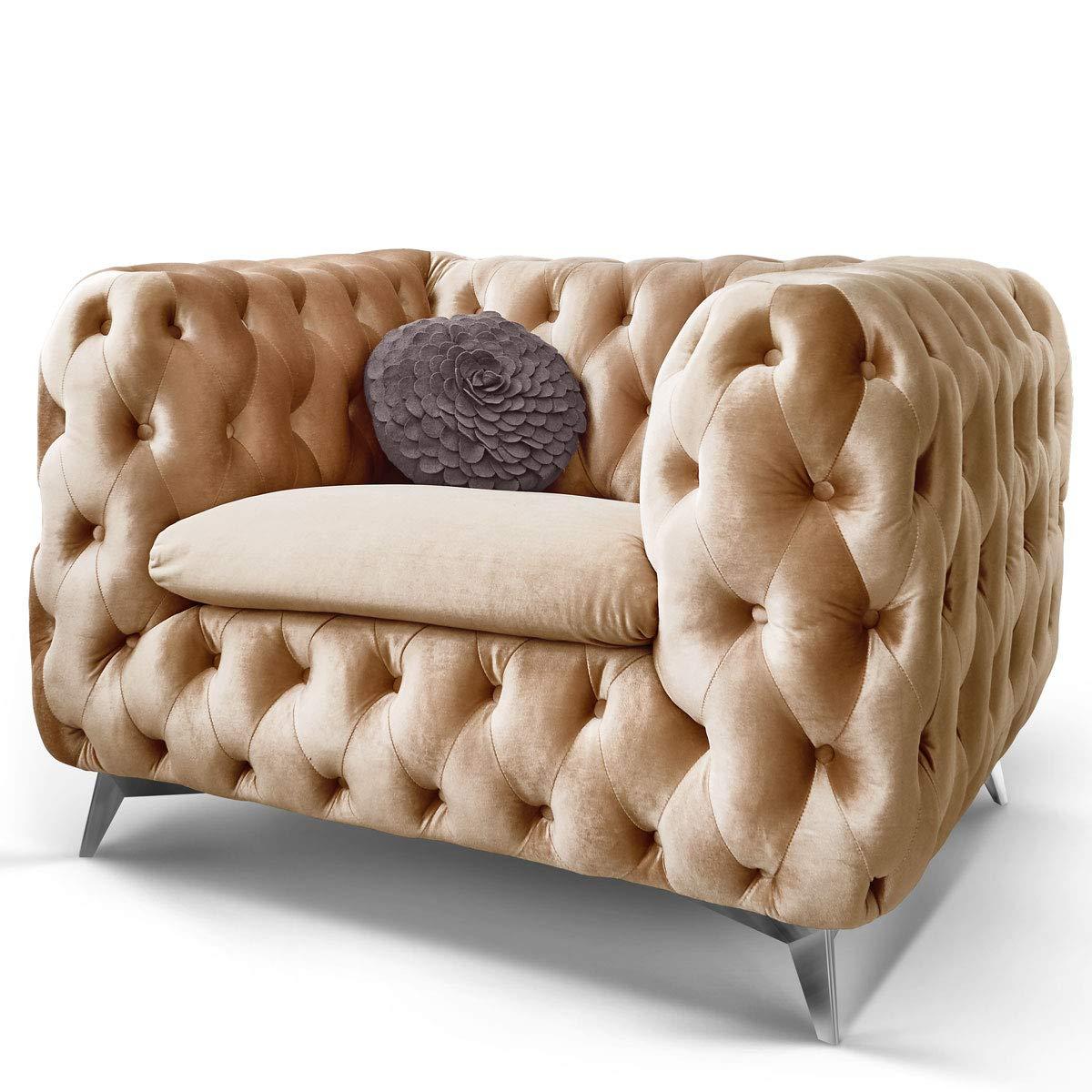 Chesterfield Sofa Couch Stoff Samt 3 Sitzer 2 Sitzer Sessel 1 Sitzer Designer Möbel Emma (1-Sitzer, Beige) 1