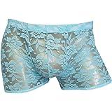 Freebily Men's Sheer Lace Floral Boxer Briefs Underwear Swim Shorts