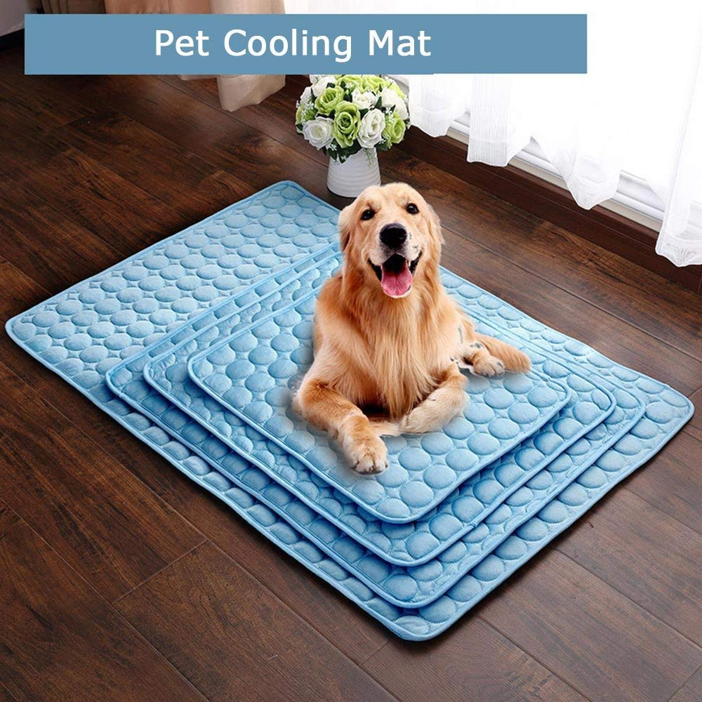 DREAMSOULE XL Pet Cooling Mat, Summer Cats and Dogs Kennel Bed Pad Travel Cool Cushion Pad, 102 x 70cm/40 x 27.5 in, Blue (XL)
