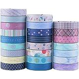 YUBX Washi Tape, 24 Rouleaux Masking Tape Pastel 10mm de Large Ruban Adhésif Décoratif, Japonais en Washi, Ruban Adhésif en W