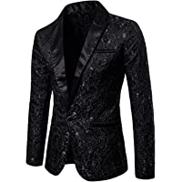 Gildnera Mens Sequin Tailcoat Swallowtail Suit Jacket Blazer Slim Fit Tailcoat for Dinner Party Prom Wedding