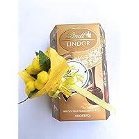 Lindt Lindor Idea Regalo - Lindt Cornet Lindor Assortito 200g + Mini Bouquet di Mimose Artificiali
