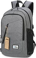 Fresion Laptop Business Rucksack mit USB Port 15,6 Zoll Gepolstert Notebook-Rucksäcke Damen Herren Leicht Daypack Schulrucksäcke für Uni Arbeit Outdoor Weekender 26L×13B×48H cm Schwarz/Grau