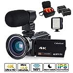 Videokamera, 4K Camcorder Cofunkool 48MP Ultra HD WiFi IPS Touchscreen IR-Nachtsicht 16X Digital Zoom Video Camcorder mit...
