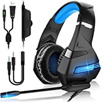 Cuffie Gaming per PS4 Cuffie da Gaming con microfono e Bass stereo Cuffie da Gioco con 3.5mm Jack LED e Controllo Volume…