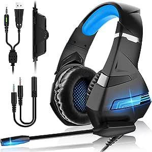 FUNINGEEK Cuffie Gaming per PS4 Cuffie da Gaming con Microfono e Bass Stereo Cuffie da Gioco con 3.5mm Jack LED e Controllo Volume Gaming Headset per PS4/Xbox One/PC/Mac/Laptop/Tablet (Nero Blu)