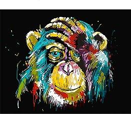 Malen nach Zahlen Kits Diy Leinwand Ölgemälde für Kinder, Studenten, Erwachsene Anfänger - bunte Monkey16x20 Zoll mit Pinsel und Acrylpigment
