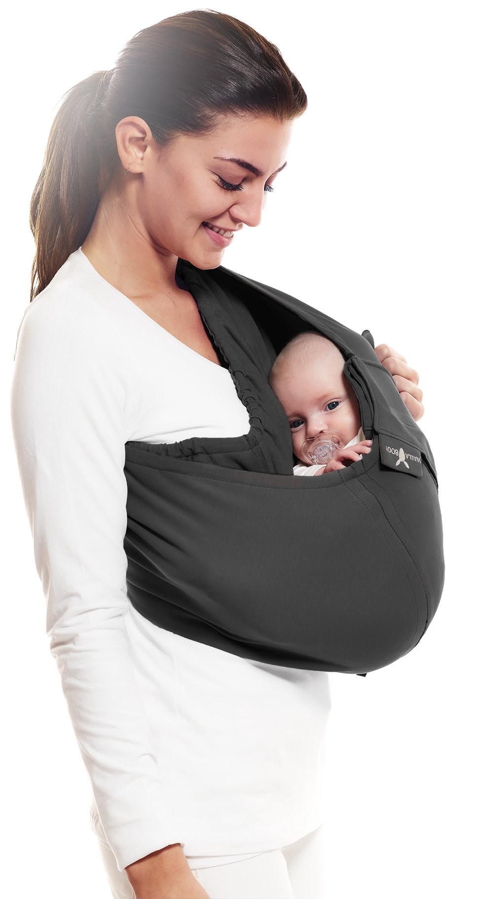 Wallaboo Wrap Sling Carrier Connection, Easy Adjustable, Ergonomic, 3 Carrying Positions, Newborn 8lbs to 33 lbs, Soft Breathable Cotton, 3 Sitting Positions, EU Safety Tested, Color: Black Wallaboo Ergonomically correct design with three natural positions: sleep, sit and active - one size fits all Can be used from premature baby through to 33lbs - with easy-to-use features like a full-front opening and an adjustable back Single piece of fabric, no straps, belts or buckles - Partly padded to give extra comfort - No wrapping, no hardware. Ready to wear 4