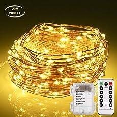 Lichterkette Batterie GREEMPIRE 200 LED 20m IP65 Wasserdicht Kupfer Drahtlichterkette mit Fernbedienung und Timer 8 Modi Sternen Lichterkette für Garten Hochzeit Party Weihnachten(Warmweiß)