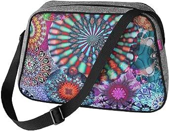 Große Damen Tasche Handtasche Umhängetasche Filz Grau Aufdruck Motiven NESI Carousel