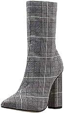 Damen Plateau Stiefel Gingham Stiefeletten,Wawer Mode Frauen Kurz Stiefel Ankle Boots High Heels Stiefel Party Schuhe mit Reißverschluss (Grau, 40.5)