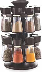 Slings Plastic Revolving Spice Rack With 16 Pieces Spice Jars (Color may vary)