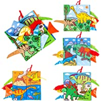 Eutionho Baby Soft Books, Bath Baby Cloth Book, First Year 3D Animals Tails Crinkle Sensory Touch and Feel Book Fabric Activity for Newborns Baby /Toddler Kids 1 2 Year Old - My Quiet Books 8 animals