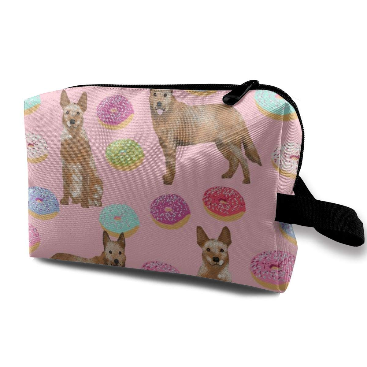 18466a3c454a Makeup Bag Portable Travel Cosmetic Bag Australian Cattle Dog Donuts -  Donuts, Dog Donut, Food, Cute Dog, Pet Friendly - Red Heeler - Pink Mini  Makeup ...
