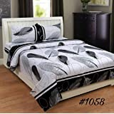 IVAZA Premium 160 TC Latest Beautiful 3D bedsheet Double Bed Cotton with Two Pillow Covers (White)