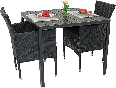 3tlg gartengarnitur balkonm bel set polywood aluminium tisch 90x90cm stapelbare. Black Bedroom Furniture Sets. Home Design Ideas