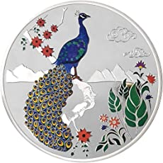 Peora Jewellery 999 Purity Enamel Peacock in Scenic Background Round Silver Coin