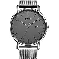 BUREI Herren Uhren Ultra Dünne Schwarze Minimalistische Quartz mit Datumsanzeige und Milanese Armband