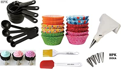 hpk Silicone Bakeware Set with Paper Moulds, Icing Bag, Measuring Cups, Brush and Spatula, 3-inch(Multicolour)