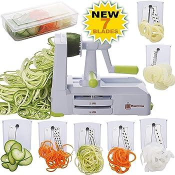 Andrew James Spiralizer for Vegetables Manual Slicer with 3 Easy Change Dishwasher Safe Blades /& Strong Suction Cup Great for Vegetarian Vegan /& Gluten Free Recipes