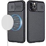 imluckies Coque Magnétique pour iPhone 12 Pro Max, Housse pour Téléphone Mince et Léger avec Protecteur Coulissant pour Appar