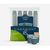 Caramont,4 Oz 400 Espresso Gobelets en Carton avec Agitateurs en Bois,Écologique et Jetables,Résistant à la Chaleur…