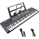Teclado Electrónico Piano 61 Teclas, Teclado de Piano Portátil con Atril, Micrófono, Fuente de Alimentación, Música Digital,