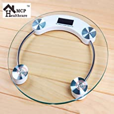 MCP Personal Digital Bathroom Weighing Scale glass weight Machine for body weight measurement (8mm White Round Weighing machine)