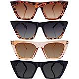Frienda 4 Paare Sonnenbrille Eckig Cat Eye Vintage Quadrat Sonnenbrille für Damen und Männer