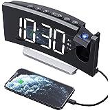 Mpow Radio Despertador Digital Proyector, FM Radio Reloj Despertadores Digitales de Proyección,Alarma Dual con 4 Sonidos 3 To