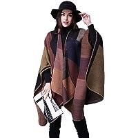 Poncho Donna Mantella Maglione Largo Moda Scollo a V Aperto Cape Eleganza Cardigan e Cappotto Moda Disegni Geometrici…