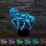 Coolzon 3D LED Illusion Lampe Veilleuse Enfants Tactile Lampe 7 Couleurs Changeantes Cheval Nuit Lumière Cadeaux de Noël pour