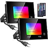 Olafus 2 Projecteur LED RGB 15W, 20 Couleurs 4 Modes IP66 Spot Multicolor avec Télécommande à 44 Touche, Lampe Ambiance Multi