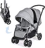 COSTWAY Foldable Baby Pram - Double Seat Push Stroller with Adjustable Backrest, Push Handle & Footrest, 5 Points Safety Belts, Sunshade & Storage Basket, Shock Absorber Front Wheel