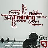 DESIGNSCAPE® Wandtattoo Training Begriffe | Wortwolke zur Motivation | Wandtattoo Sport 160 x 83 cm (Breite x Höhe) dunkelrot DW803439-L-F21