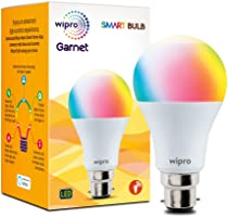 Wipro WiFi Enabled Smart LED Bulb B22 9-Watt (16 Million Colors + Warm White/Neutral White/White) (Compatible with...
