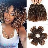 Marlybob virkat hår Befunny Marlybob 6 bunt/parti Marlybob hår ombre flätning hår syntetisk hårförlängning (20 cm, 1 B/30)