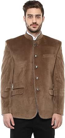 LUXURAZI Tanned High Neck Suede Festive/Wedding Wear Blazer