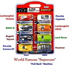 Happy GiftMart Set of 8 All World Famous Car Designs with Pull Back Option for Supercars Toy Set